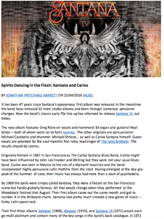 Carlos Santana IV album and band profile - first page image