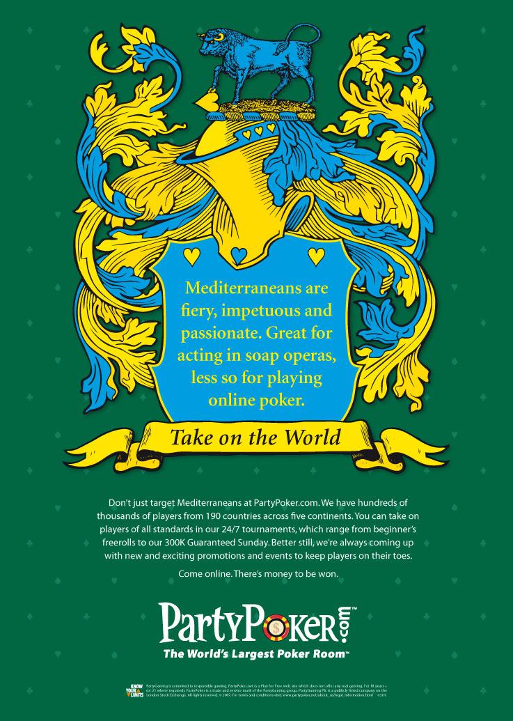 PartyPoker press ads 'Take on the World' - Mediterraneans